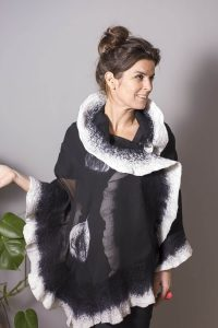 Handmade Poncho / Scarf Maxima Black and White