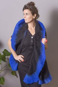 Handmade Poncho / Scarf Maxima Black And Blue