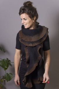 Handmade Poncho / Scarf Maxima Black And Brown