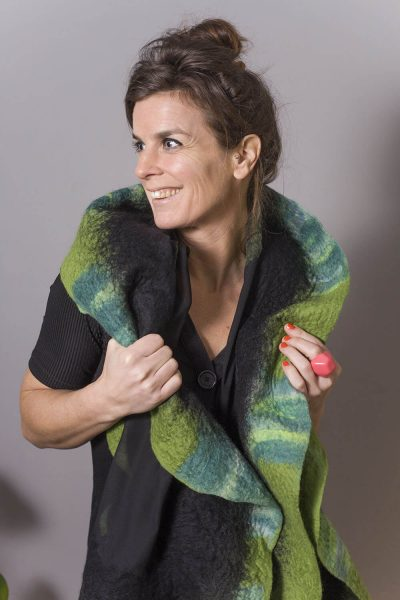 Handmade Poncho / Scarf Maxima Black And Green