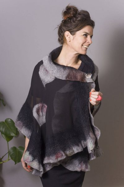Handmade Poncho / Scarf Maxima Black Gray And Purple