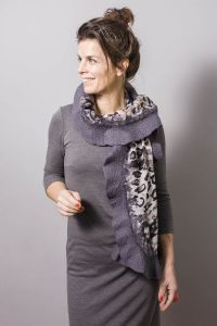 Handmade Poncho / Scarf Sofia Artistic And Dark Gray