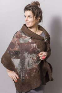 Handmade Poncho / Scarf Sofia Forest And Brown