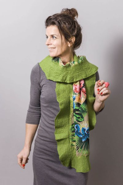Handmade Poncho / Scarf Sofia Tropical And Green