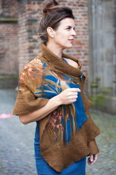 Handmade Poncho / Scarf Sofia Blue And Brown