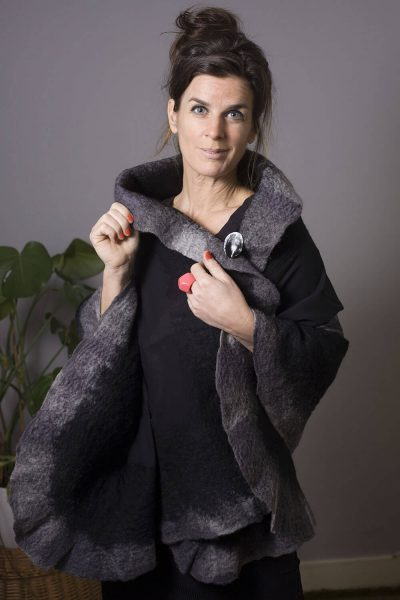 Handmade Poncho / Scarf Maxima Black and Gray