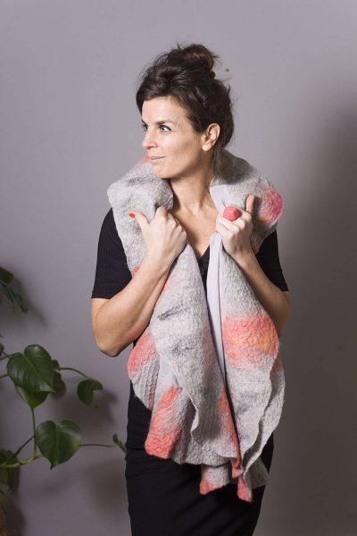 Handmade Poncho / Scarf Maxima Light Gray and Pink