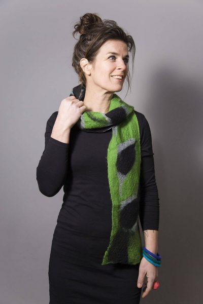 Handmade Scarf Jula Black and Green