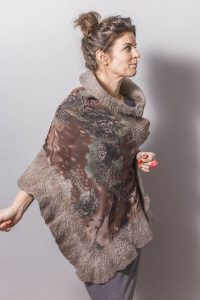 Handmade Poncho / Scarf Sofia Forest And Gray Brown