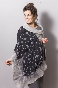 Handmade Poncho / Scarf Sofia Leaves and Silver Gray